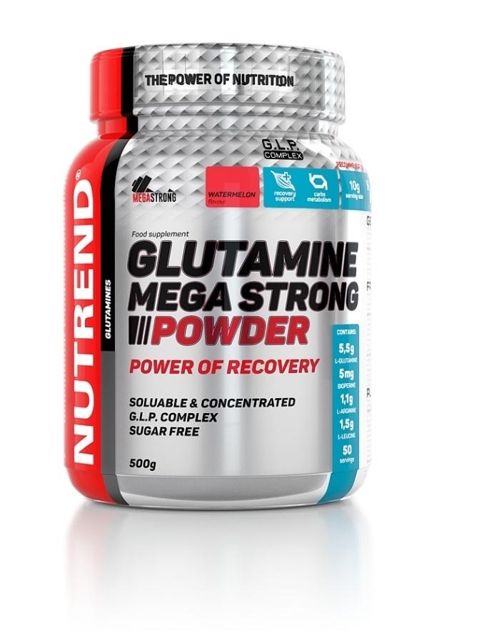Glutamin Mega Strong Powder - punč + brusinka, 500 g